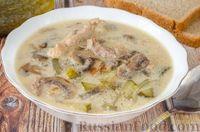 Суп с мясом, грибами и солеными огурцами