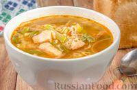 Суп с копченой курицей, стручковой фасолью, кабачком и макаронами