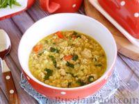 Чечевичный суп с фаршем, сладким перцем и шпинатом