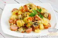 Тушеная картошка с грибами и сосисками