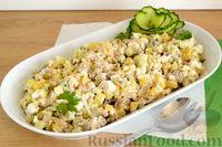 Салат с сардинами в масле и консервированным горошком