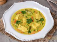 Куриный суп с цветной капустой, горошком и стручковой фасолью