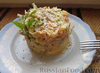 Мясной салат с капустой, морковью и луком