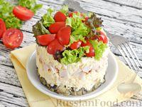 Слоёный салат с шампиньонами и копчёной курицей