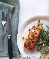 Жареный лосось со стручковой фасолью