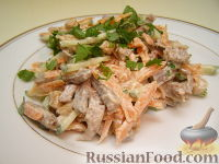 Салат из языка и свежих овощей