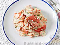 Салат из крабовых палочек, помидоров и сыра