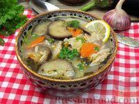 Рисовый суп с курицей и баклажанами