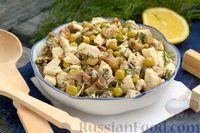 Салат с курицей, шампиньонами и горошком