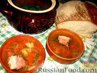 Овощной суп с копченой грудинкой в горшке