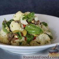 Салат из цветной капусты с базиликом и оливками