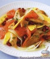Салат из копченой рыбы, фенхеля и манго