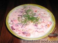 Холодный суп со свеклой, на кефире