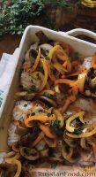 Рыба, запеченная с грибами и овощами в духовке