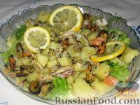 Теплый салат из картофеля с морепродуктами