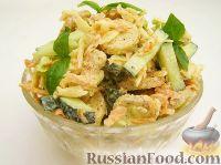 Простой овощной салат с сухариками