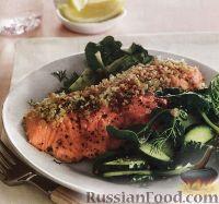Печеный лосось с зеленым салатом