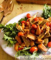 Соте из артишоков и помидоров с куриным филе