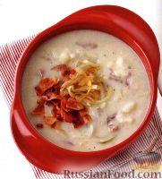 Картофельный суп-пюре с луком и беконом
