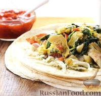 Буррито с овощами и яйцами