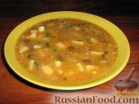 Суп грибной с чечевицей
