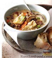Сливочный суп с грибами и артишоками