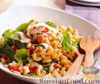Шпинатный салат с пастой и фасолью