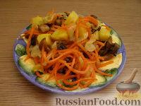 Салат с жареными грибами и корейской морковкой