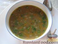 Суп из свиных копченых ребрышек с зеленой чечевицей