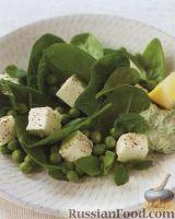 Салат из сыра фета с горошком и свежей зеленью