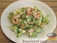 Салат с креветками и свежими огурцами
