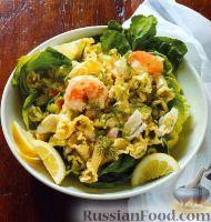 Холодный салат из пасты и морепродуктов