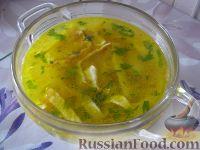 Куриный суп с лапшой из омлета