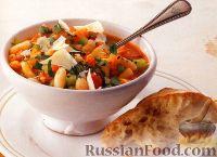 Овощной суп с фасолью и макаронами