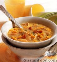 Куриный суп с фасолью, кукурузой и беконом