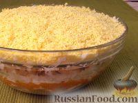 """Салат """"Мимоза"""" с рисом и копченой рыбой"""