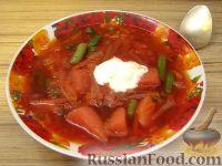 Красный борщ с зеленой фасолью