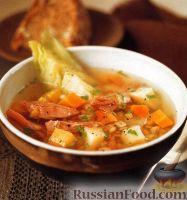 Суп с перловкой, чечевицей, овощами и свининой