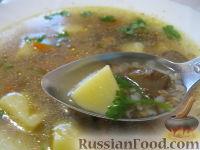 Постный грибной суп с гречкой