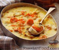 Рыба с креветками, в сливочном соусе