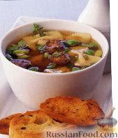 Суп с куриной печенью и макаронами