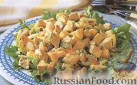 Салат из курицы и манго