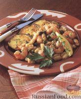 Фасоль с креветками и чесноком