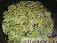 Яичница-запеканка с мангольдом, пореем и сыром