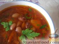 Красный борщ с фасолью и черносливом