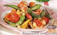 Салат гриль с креветками, кукурузой и стручками бамии