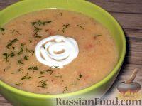Картофельный суп-пюре с чесноком, помидорами и перцем