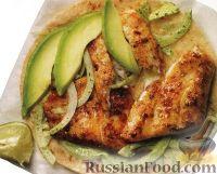 Закуска с жареной рыбой и авокадо