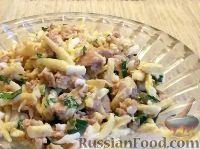 Салат из печени трески, сыра и чеснока