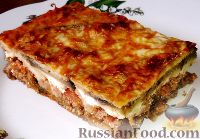 Греческая мусака (слоёная запеканка из баклажанов, фарша и молочного соуса)